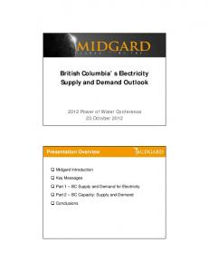 British Columbia s Electricity Supply and Demand Outlook