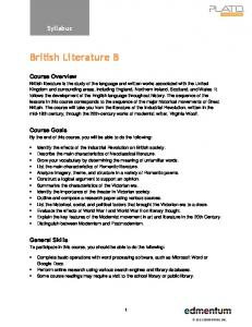 British Literature B. Syllabus. Course Overview. Course Goals. General Skills