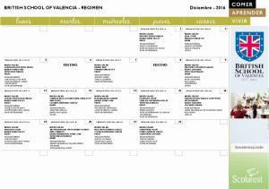 BRITISH SCHOOL OF VALENCIA - REGIMEN Diciembre