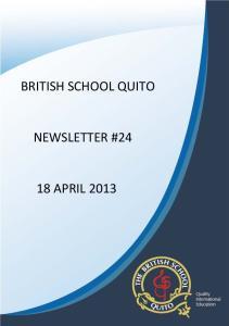 BRITISH SCHOOL QUITO NEWSLETTER #24