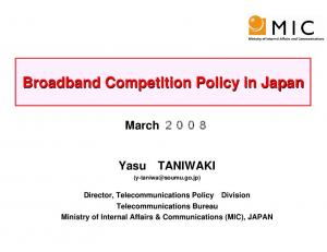 Broadband Competition Policy in Japan
