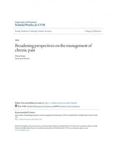 Broadening perspectives on the management of chronic pain