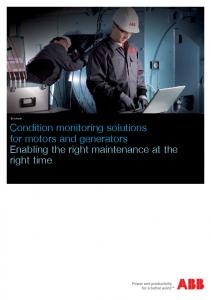 Brochure. Condition monitoring solutions for motors and generators Enabling the right maintenance at the right time