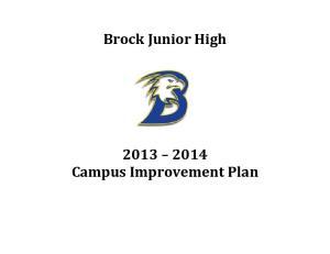 Brock Junior High Campus Improvement Plan