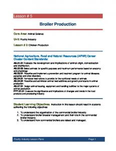 Broiler Production. National Agriculture, Food and Natural Resources (AFNR) Career Cluster Content Standards:
