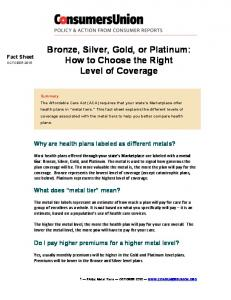 Bronze, Silver, Gold, or Platinum: How to Choose the Right Level of Coverage