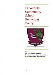 Brookfield Community School Behaviour Policy