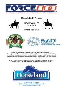 Brookfield Show. 15 th, 16 th, and 17 th May 2015 HORSE SECTION