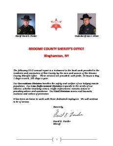 BROOME COUNTY SHERIFF S OFFICE Binghamton, NY