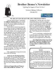 Brother Benno s Newsletter