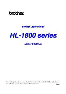Brother Laser Printer USER S GUIDE