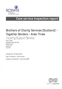 Brothers of Charity Services (Scotland) - Together Borders - Area Three Housing Support Service Triest House Galabank Business Park Wilderhaugh