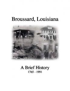 Broussard, Louisiana A Brief History