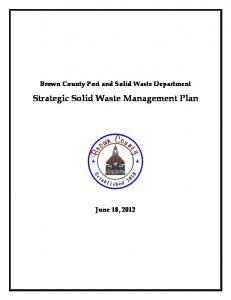 Brown County Port and Solid Waste Department. Strategic Solid Waste Management Plan