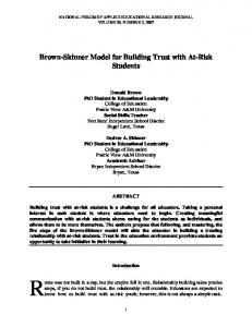 Brown-Skinner Model for Building Trust with At-Risk Students