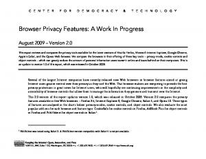 Browser Privacy Features: A Work In Progress