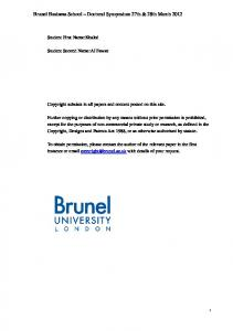 Brunel Business School Doctoral Symposium 27th & 28th March 2012