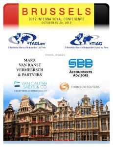 BRUSSELS 2012 INTERNATIONAL CONFERENCE OCTOBER 22-24, 2012