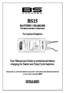BS15 BATTERY CHARGER Plus Battery maintainer & Rejuvenator