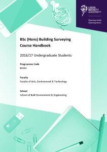 BSc (Hons) Building Surveying Course Handbook