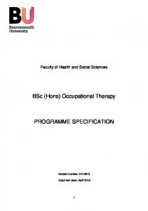 BSc (Hons) Occupational Therapy