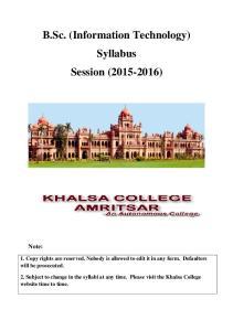 B.Sc. (Information Technology) Syllabus Session ( )