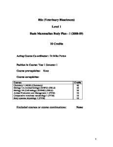 BSc (Veterinary Biosciences) Level 1. Basic Mammalian Body Plan - 1 ( ) Credits
