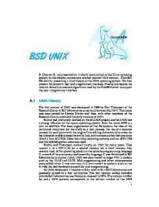 BSD UNIX. Appendix. A.1 UNIX History