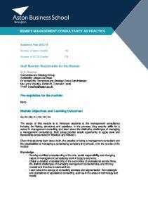BSM975 MANAGEMENT CONSULTANCY AS PRACTICE