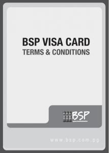 BSP VISA CARD TERMS & CONDITIONS