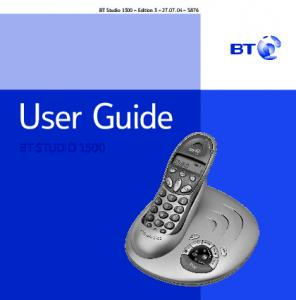 BT Studio 1500 Edition User Guide BT STUDIO 1500