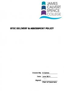 BTEC DELIVERY & ASSESSMENT POLICY