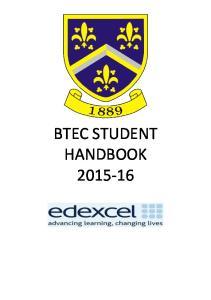 BTEC STUDENT HANDBOOK