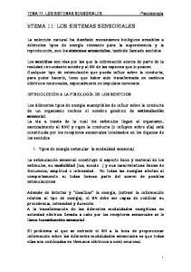 btema 11: LOS SISTEMAS SENSORIALES