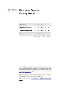 BTI 2016 Dominican Republic Country Report