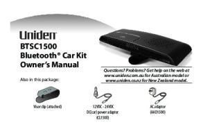 BTSC1500 Bluetooth Car Kit Owner s Manual