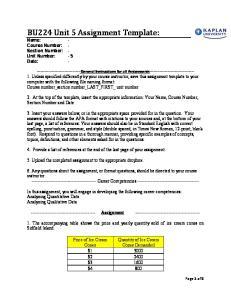 BU224 Unit 5 Assignment Template:
