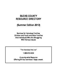 BUCKS COUNTY RESOURCE DIRECTORY. (Summer Edition-2013)