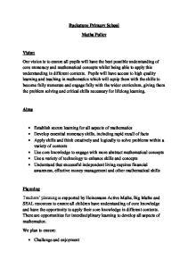 Buckstone Primary School. Maths Policy