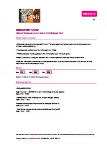 BUDAPEST CARD Discover Budapest at your leisure with Budapest Card