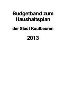 Budgetband zum Haushaltsplan. der Stadt Kaufbeuren