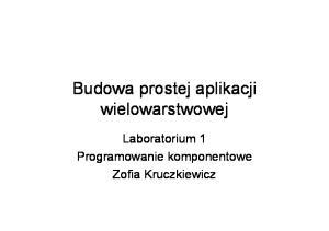 Budowa prostej aplikacji wielowarstwowej. Laboratorium 1 Programowanie komponentowe Zofia Kruczkiewicz