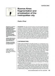 Buenos Aires: fragmentation and privatization of the metropolitan city