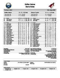 Buffalo Sabres Game Notes