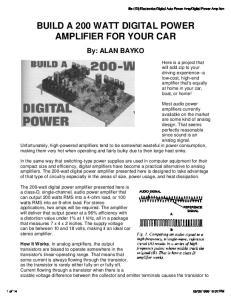 BUILD A 200 WATT DIGITAL POWER AMPLIFIER FOR YOUR CAR