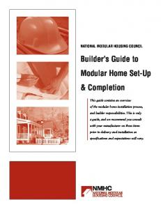 Builder s Guide to Modular Home Set-Up & Completion