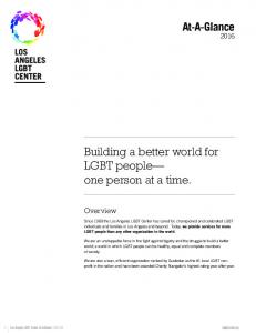 Building a better world for LGBT people one person at a time