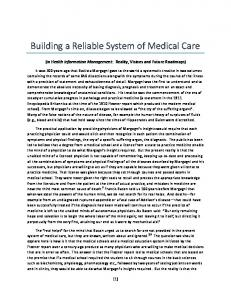 Building a Reliable System of Medical Care