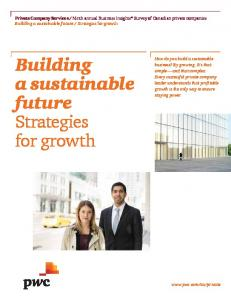 Building a sustainable future Strategies for growth