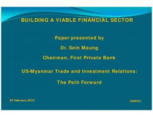 BUILDING A VIABLE FINANCIAL SECTOR